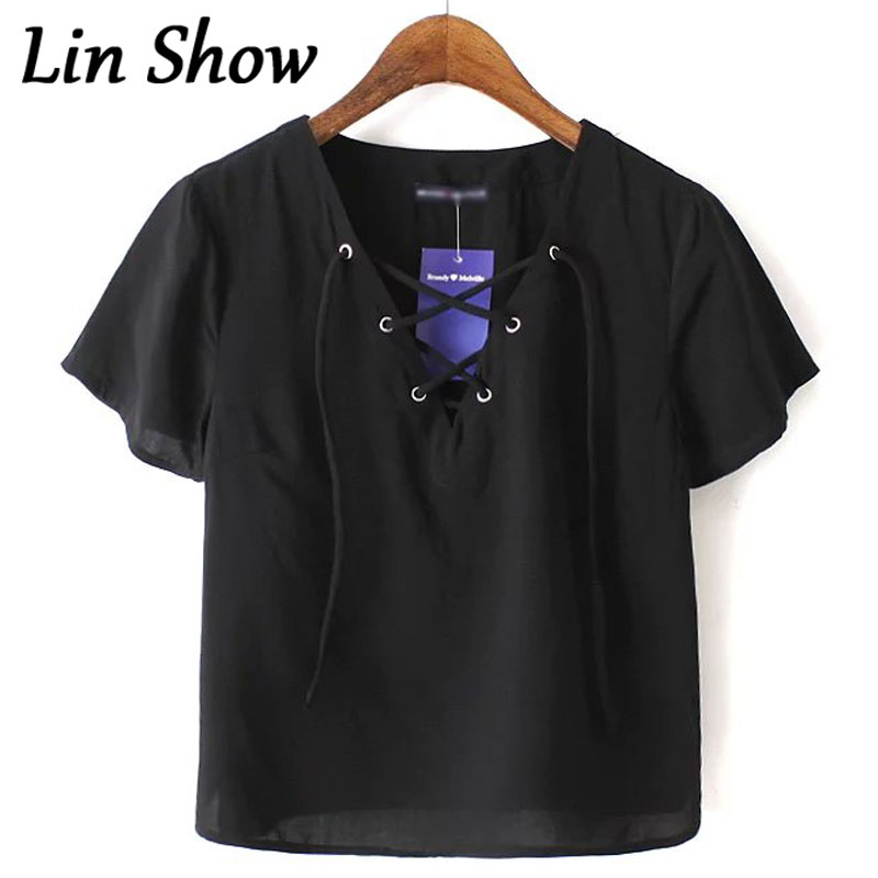 Lace Up Solid Black Women T Shirt Fashion Casual Basic Cotton Lady Tee Tops 2016 Summer Short Sleeve Female T Shirt GL415(China (Mainland))
