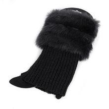 1 çift Yüksek Kalite Yeni Kadın Kış Bacak Isıtıcıları Bayan Tığ Örgü Kürk Trim Bacak Çizme Çorap Toppers Manşetleri(China)