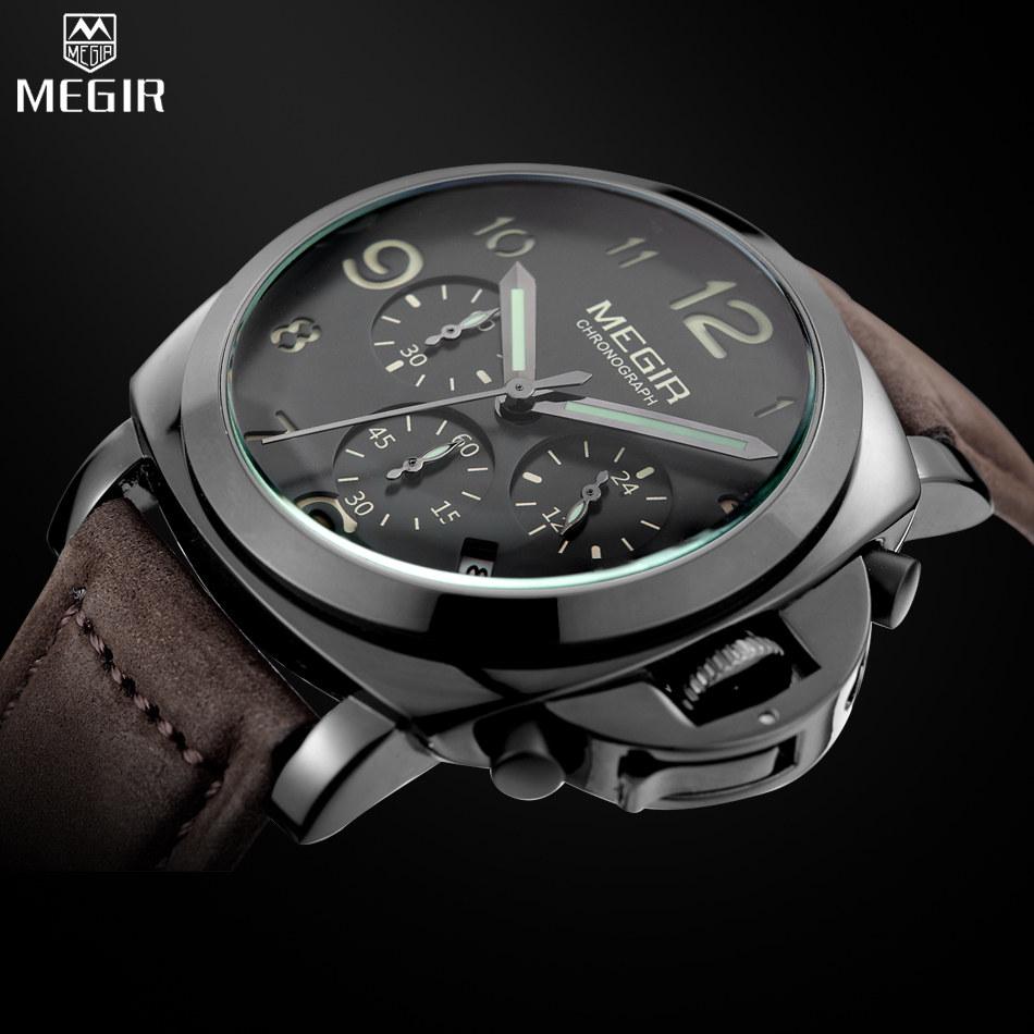 MEGIR Brand Watch Mans Fashion Military Lumimous Quartz Wristwatches Men Analog Casual Chronograph Watches relogios masculinos<br><br>Aliexpress