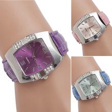 Women s Rhinestone Barrel Shape Case Faux Leather Band Analog Quartz Wrist Watch HOT 4J6L