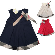 Quality 6-24M Newborn Baby Girls Dress Lovely Child Clothes England Style Sleeveless Kids Girl Dresses With Bow O-neck Dress(China (Mainland))