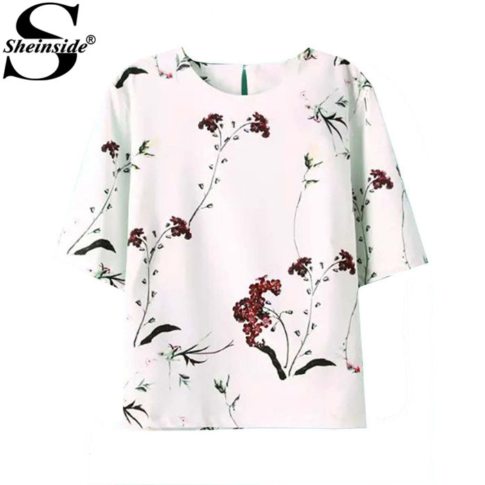 Sheinside Summer Style Ladies Fashion White Round Neck Short Sleeve Floral Print Button Back Korean Fashion Loose Blouse(China (Mainland))
