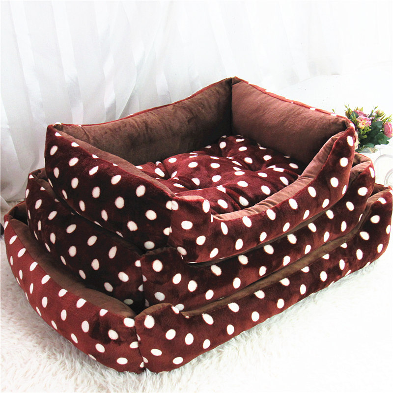 High quality large Velvet Dot kennel Large luxury dog beds beige and coffee pet house Dog Beds/Mats kennel Pet Supplies S/M/L(China (Mainland))