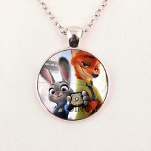 Zootopia Necklace The Fox Nick and The Police Bunny Rabbit Judy Animals Pendants For Kids Christmas Best Friends Pendant Charms