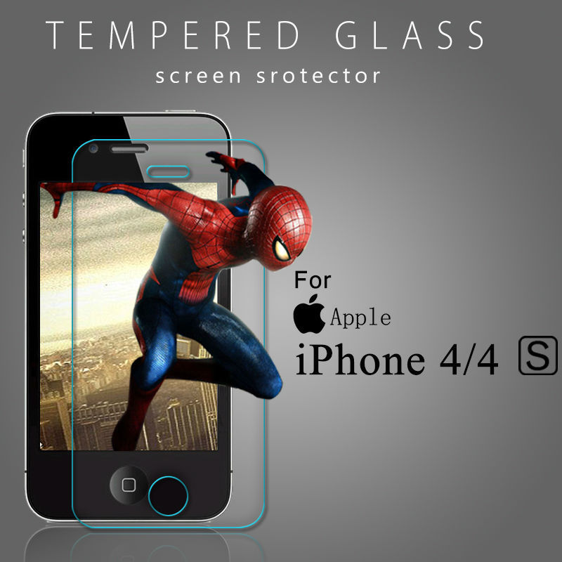 Anti-Shatter Premium Tempered Glass 0.3mm Screen Protector For iPhone 4 4S 4G Protective Film Clear Shield With Retail Package(China (Mainland))