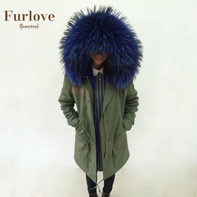 2015 Winter Женщины Army Зеленый Parka Jacket Coats Thick Real Мех енота Воротник ...
