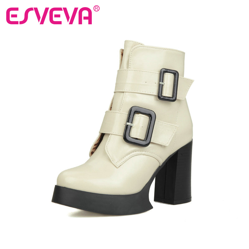 Popular White Platform Thick Heel Ankle Boots-Buy Cheap White ...