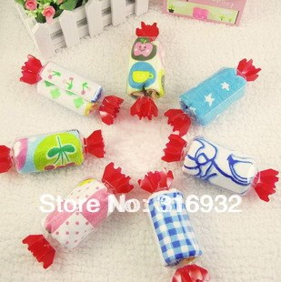 P1 Free shipping Creative Cartoon candy towel gift for children, 12pcs/lot
