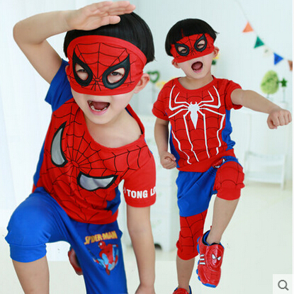 Free shipping 2015 new children's clothing boys Spiderman Superman suit children short-sleeved two-piece sports clothes(China (Mainland))