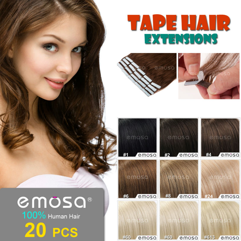 Emosa Tape Hair Extensions,Natural Human Hair Extensions,20 PCS,Silky Brazilian Virgin Hair,Remy Tape Skin Weft,4 Colors(China (Mainland))