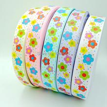 1″  4Y Wholesale sun flower  Print Grosgrain Ribbon DIY Hair Accessories Total 5colors