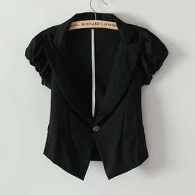 2015 Fashion women short-sleeved suit slim black blazer cotton women blaser feminino(China (Mainland))