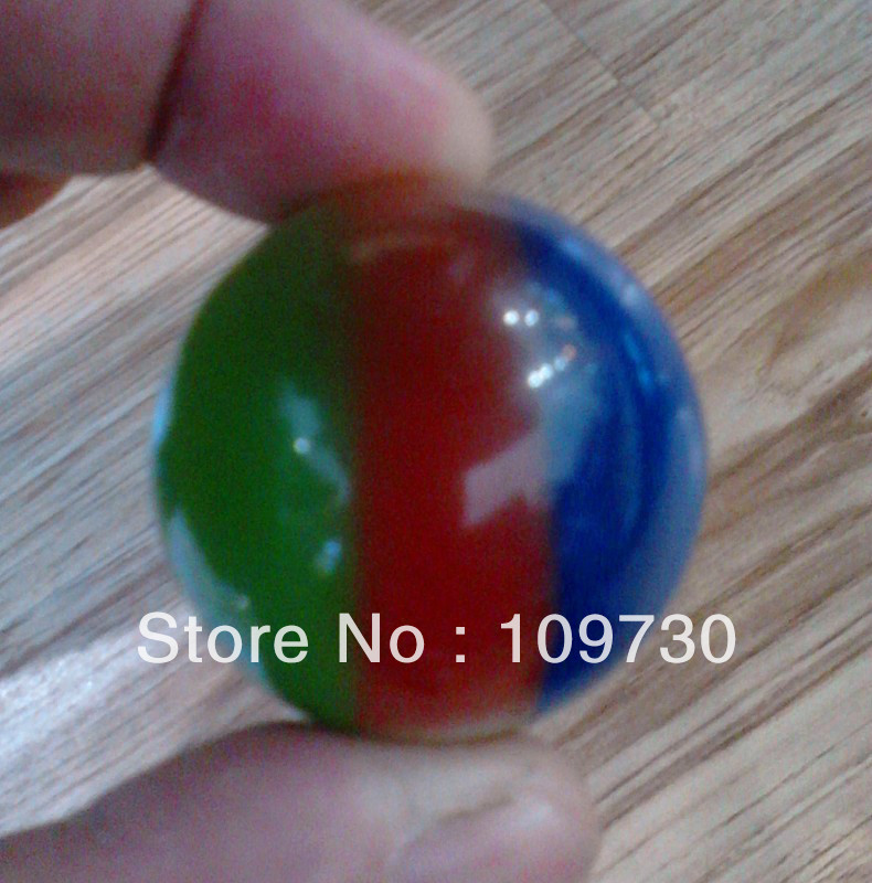 00235 Rare tri-color quartz crystal ball synthetic ball size: 40mm + STAND(China (Mainland))