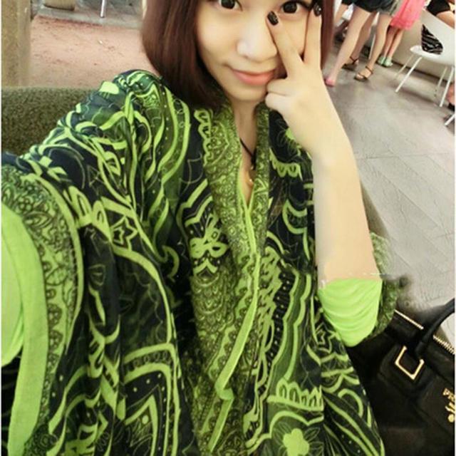 4 цветов мода женщин осень зима тонкий ретро персидского ударил цвета вуаль шарфа палантин шарфы новый