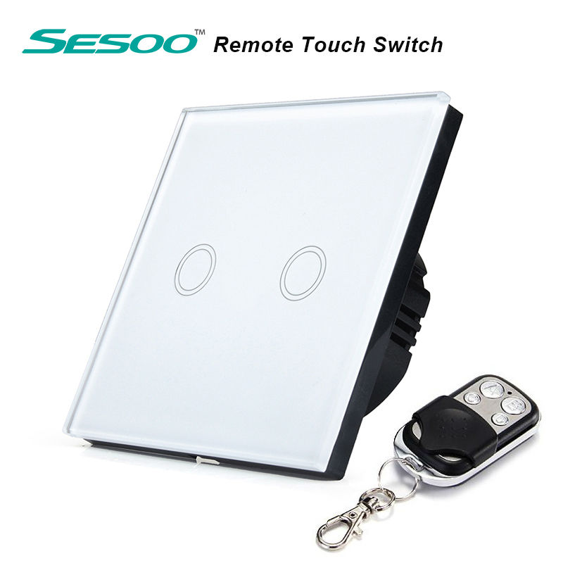 SESOO Y602 EU Standard 2 Gang 1 Way Switch with Remote Control ,Crystal Glass Panel,Wall Light Remote Touch Switch+LED Indicator(China (Mainland))