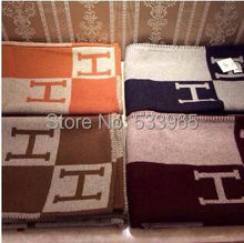 TOP QUALITY 165*145cm Brand Designer H Letters Home Blankets Sofa Blankets Real Wool Blanket Winter Cashmere Plaid Blanket(China (Mainland))