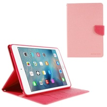 for Pad mini 4 MERCURY GOOSPERY Leather Wallet Shell for Pad Mini 4 with Stand - Pink(China (Mainland))