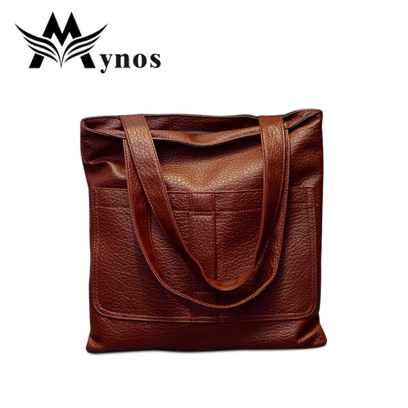 2015 Vintage Soft Leather Women Shopper Bag Medium Tote Bags For Women Solid Shoulder Handbag With Skinny Strap Sac A Main Bolsa<br><br>Aliexpress