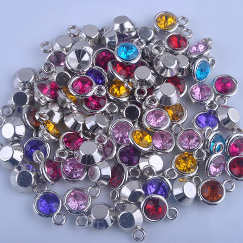 150pcs lot mixed birthstone charms 11mm acrylic for diy