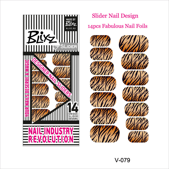 Fabulous Tiger Stripes Designed Nail Art Decal14PCS Nail Foil Stickers with Wholesale Price(China (Mainland))