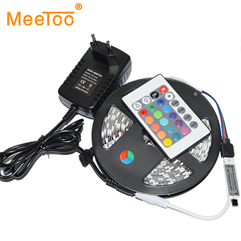 New 5050 RGB Led Strip 5M 60pcs/M 300LED Flexible Tape Light + 12V 2A 24W Power Adapter + 24Key Remote Controller lamps 1Set(China (Mainland))