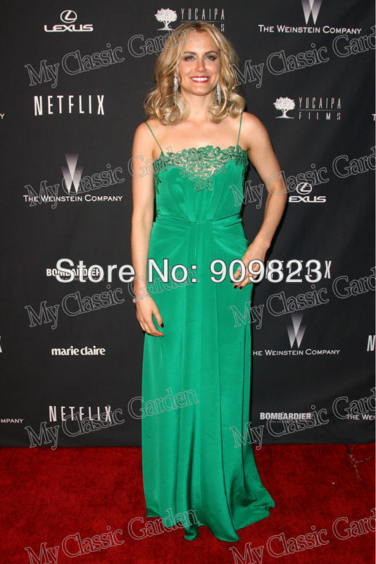 Golden Awards Taylor Schilling Spaghetti Traps Lace Accented Green Elegant New Celebrity Dress Fashion Gowns(China (Mainland))