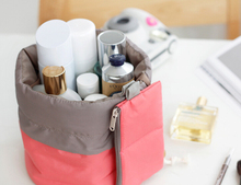 Barrel Shaped Travel Cosmetic Bag Nylon Wash Bags Makeup Organizer Storage Travel Bag High Capacity Drawstring