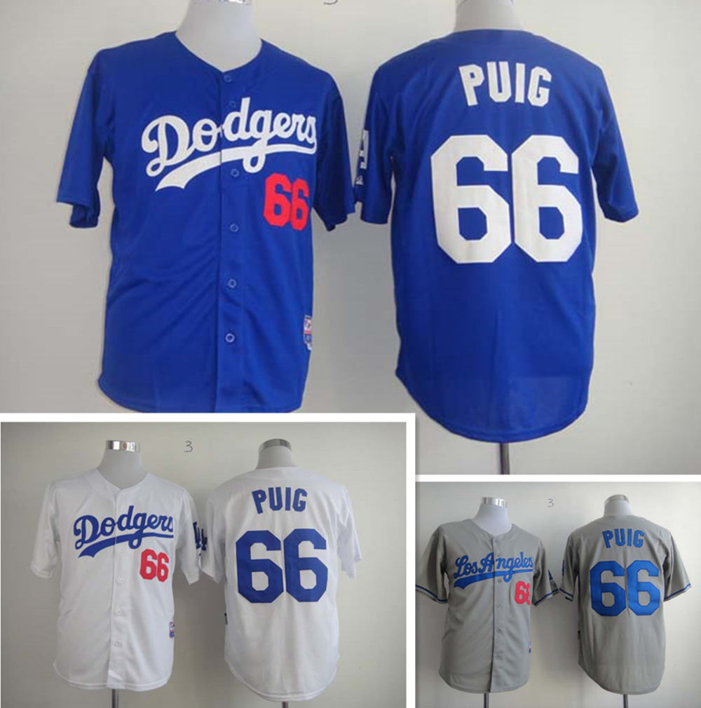 la dodgers jerseys puig Stitched#66 Yasiel Puig Jersey Top Quality los angeles dodgers Baseball jersey puig Embroidery Logo(China (Mainland))