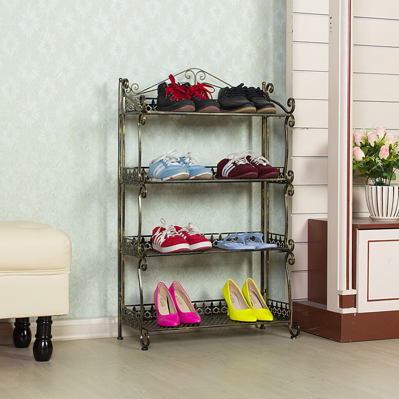 Wrought iron shoe rack pastoral style slippers layer near the door Shelves Specials<br><br>Aliexpress
