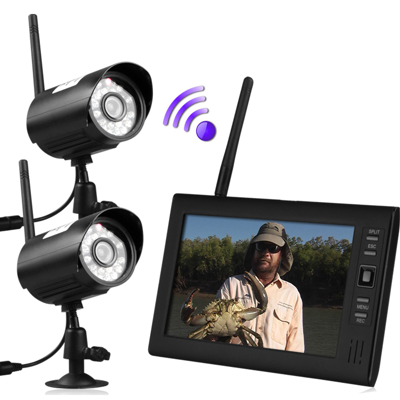"""7"""" LCD Wireless Baby Monitor 4 Channel Quad Security System DVR With 2 Cameras(China (Mainland))"""