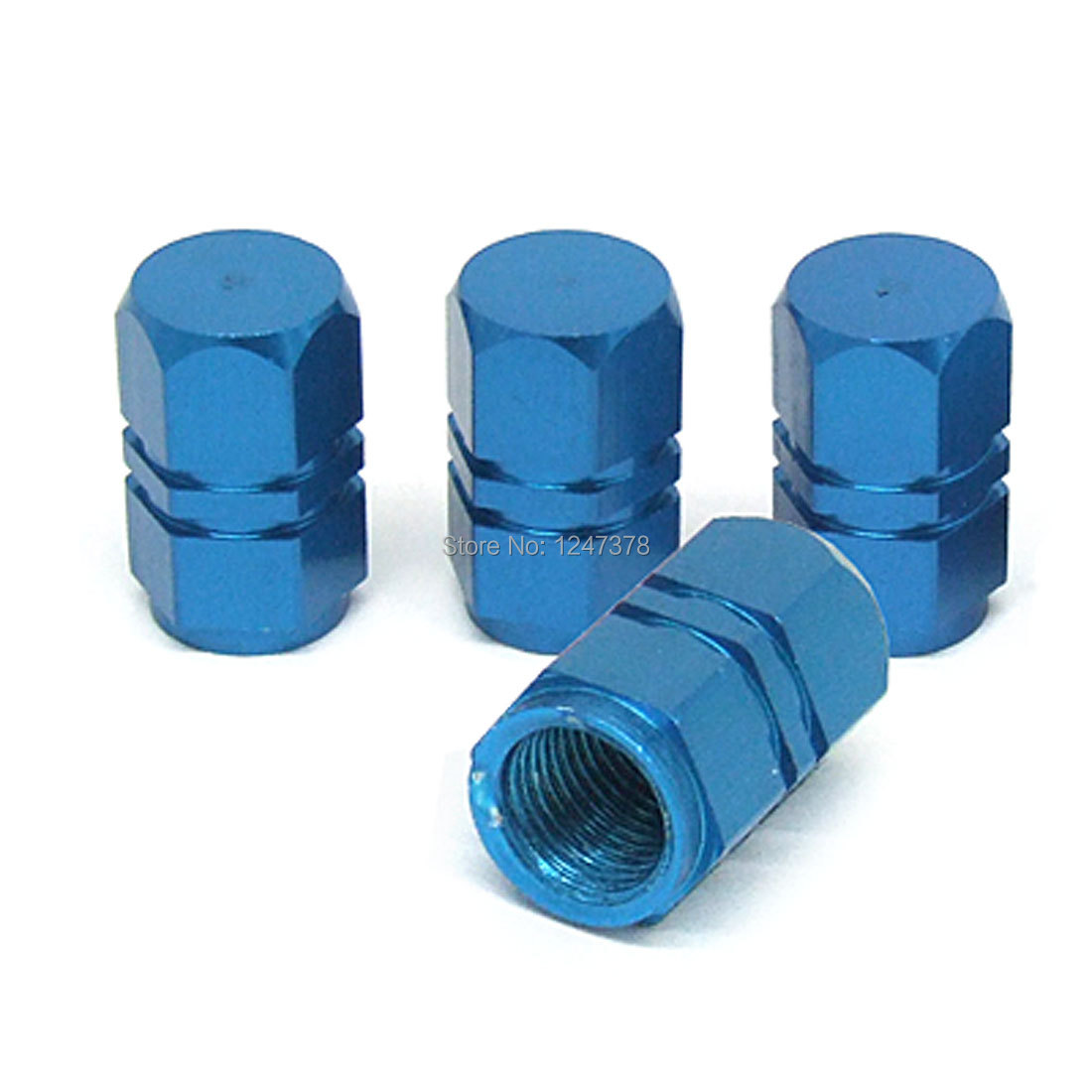 Car Truck Tyre Tire Valve Stem Covers Caps Blue 4 Pcs/lot Discount 50(China (Mainland))