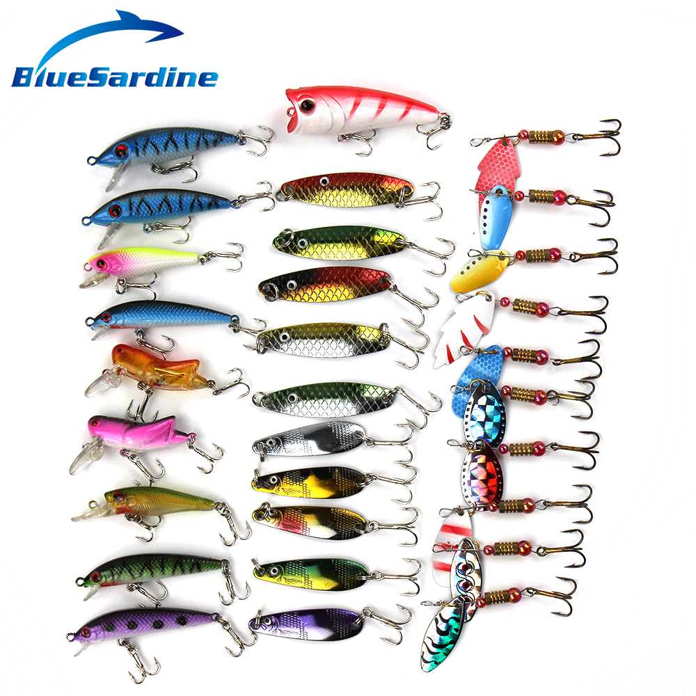 Sale fishing lure set hard bait spoon spinner minnow crank for Fishing tackle sale