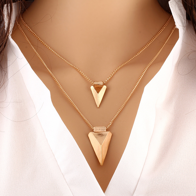 2016 SUPIN Fashion Metal Triangular Multilayer Beads Link Chain Gold Plated Necklaces Simple Clothing Accessories Steel Necklace(China (Mainland))