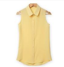 Women Sleeveless Turn-down Chiffon Blouse Summer Shirt Blusas Femeninas Plus Size Solid Vest Tops Camisa De Chifon Feminina(China (Mainland))