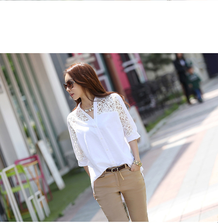 2016 spring new Korean large size women cotton sexy backless white lace hollow women's dress shirt factory direct sales 58(China (Mainland))