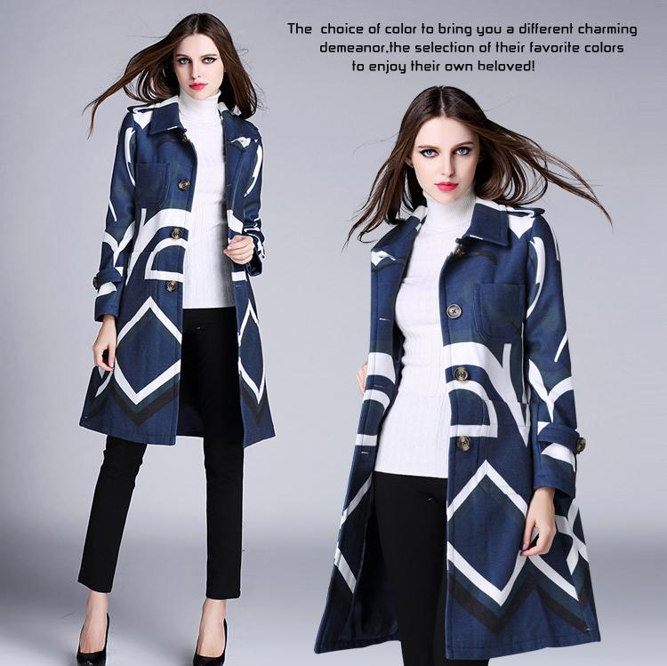 Runway Wool Coat 2015 Europe Fashion New Turn-Down Collar Streak Hit Color Absract Print Double Pocket Elegant Slim Coat