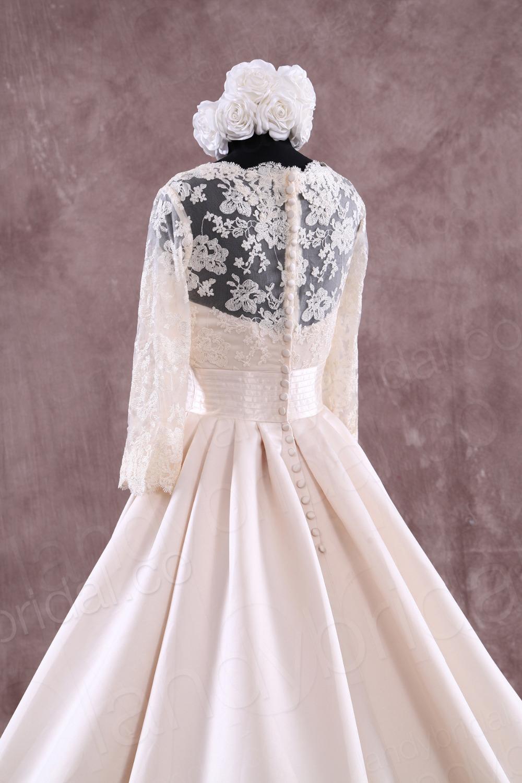 longues en dentelle Champagne robe de mariée musulmane robe de ...