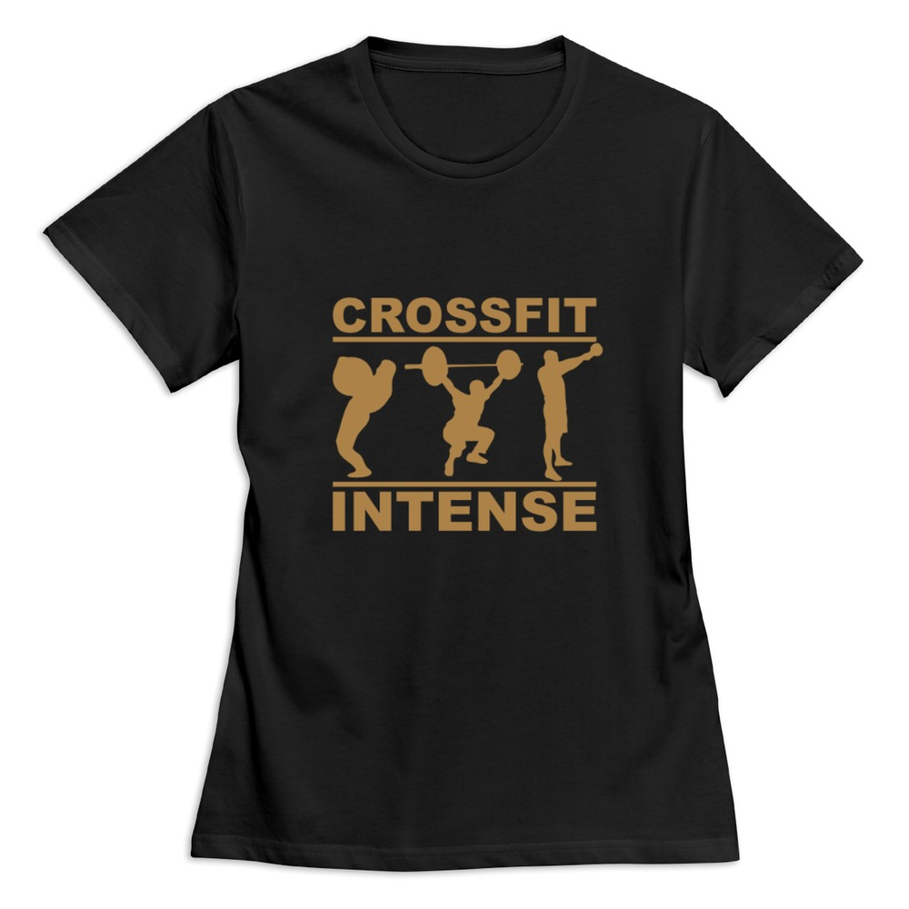 O neck crossfit intense 1 woman t shirt cheap customized for Cheap embroidered t shirts