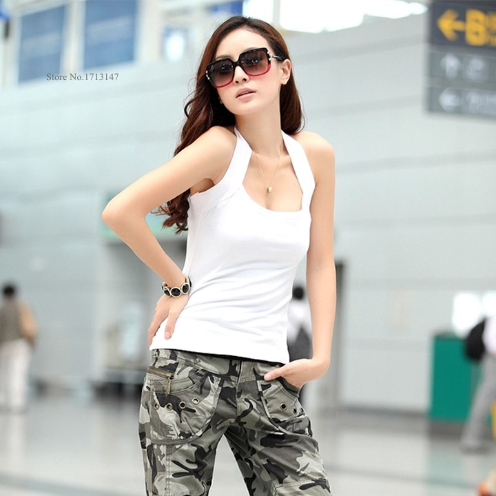 2014 New Hot Sale Sexy Women's Halter Neck Low Cut Tight Vest Shirt Tank Tee Cami Backless Top Black/ White/Orange #2 SV004(China (Mainland))