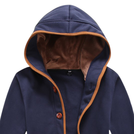 Newest Men Hoody Casual Hoodie Sweatshirt Sports Coat Cardigan Navy Blue 2XL(China (Mainland))