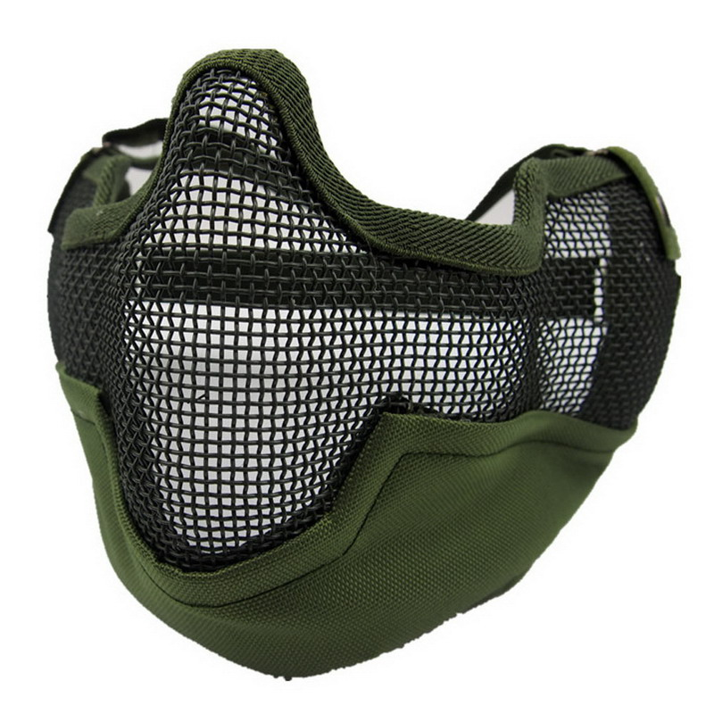Outdoor Windproof Hat Multifunctional Airsoft Paintball Mesh Protecting Mask Half Face Protect with Ears Anti-terrorism Bilayer<br><br>Aliexpress