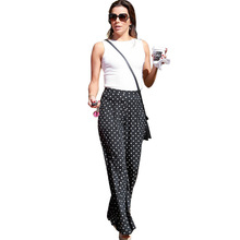 Vfemage Womens Summer Elegant Vintage Polka Dot Pocket Side Zipper Casual Beach High Waist Wide Leg Long Pants Trousers 2469(China (Mainland))