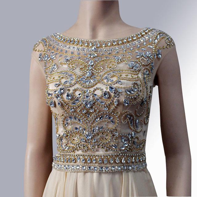 Вечернее платье 2016 ручной работы кристалл бисера сексуальная тюль иллюзия лодка ...