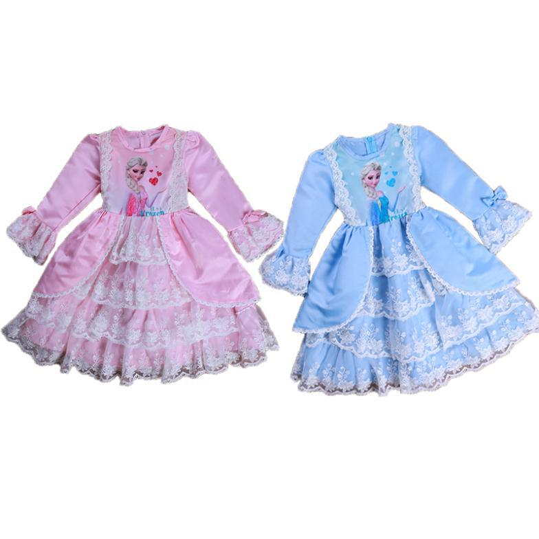 Autumn style princess dress/Royal girls lace party dress with printed Elsa/2014 new arrived dress(China (Mainland))