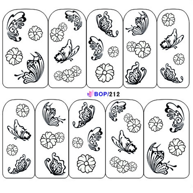 1x Fashion Women Manicure Tips New Black Bow Butterfly Tie Decals Nail Art Water Transfer Stickers Nail Supplies BOP212-213(China (Mainland))