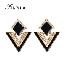 2015 Summer Style Brincos Colorful Enamel Rhinestone Triangle Geometric Dangle Earrings for Women Wholesale Pendientes(China (Mainland))