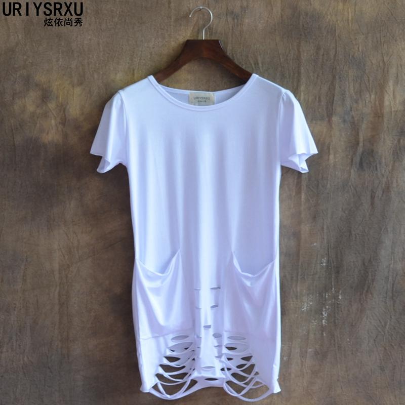 The New Decadent Hole Bottom Design Europe And United States City Boy Men Short Sleeve T Shirt Clothing Personality T Shirts(China (Mainland))