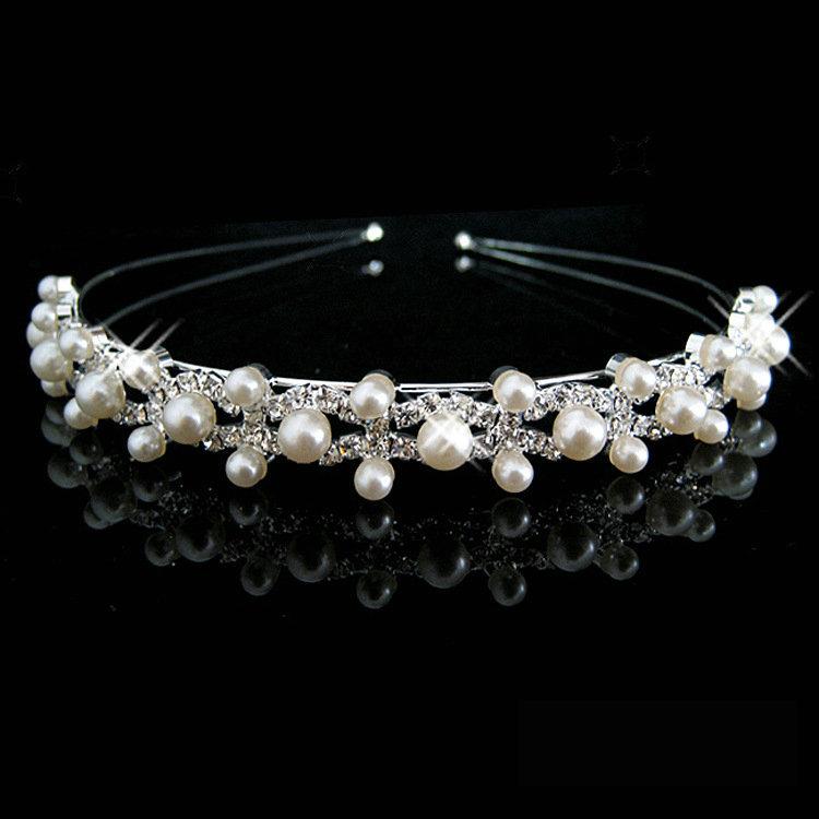 New Shiny Crystal Rhinestone Pearl Headband Silver Wedding Party Tiara Hair bands Bridal Hair Accessories Flower Girls Hairwear(China (Mainland))