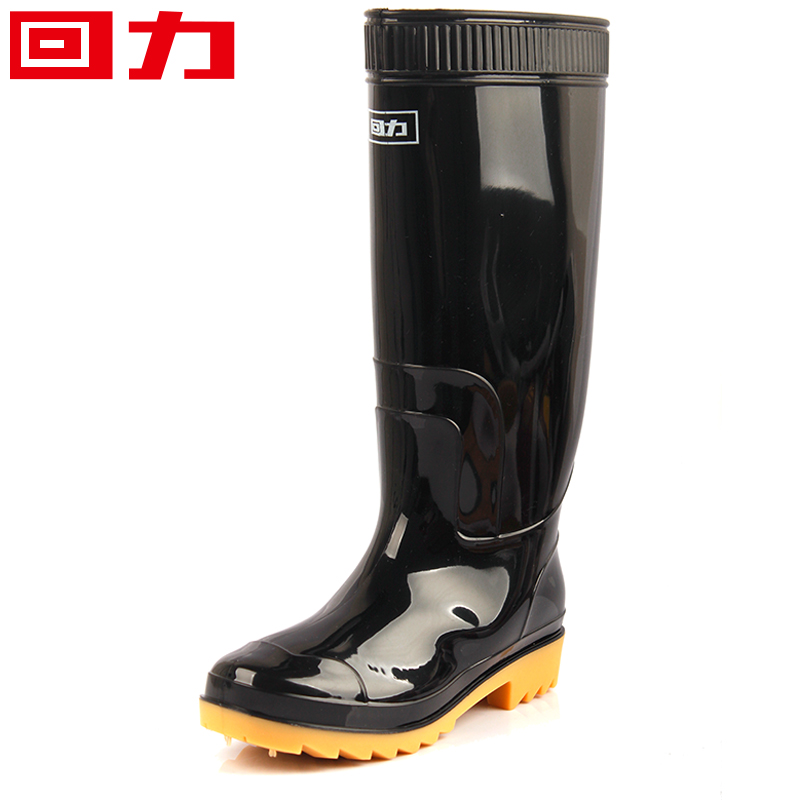 Warrior rain boots high black male fishing shoes for Waterproof fishing boots