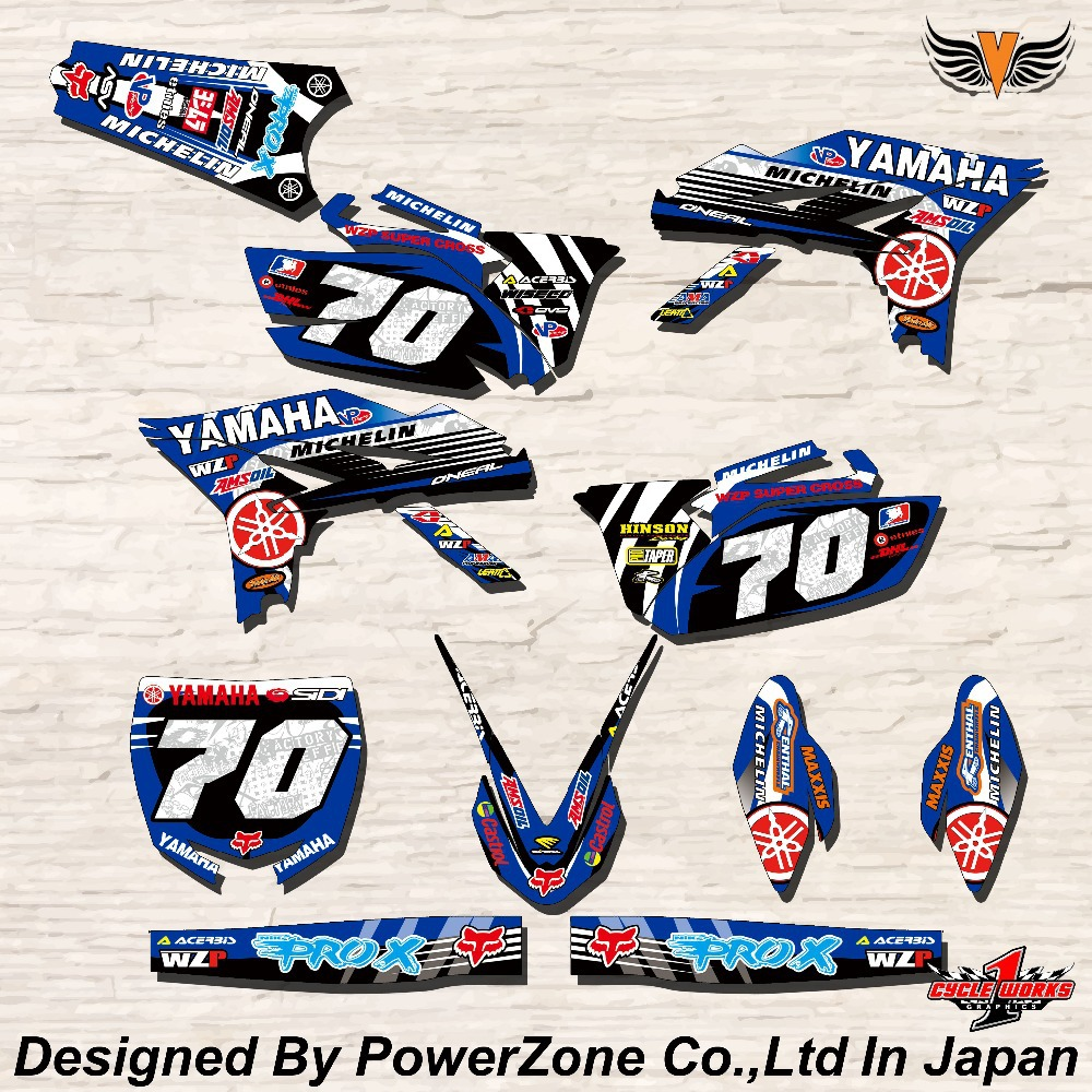 WR YZ YZF 125 250 400 450 Team Graphics Backgrounds Decals Stickers Y70 Motor cross Motorcycle Dirt Bike MX Racing Parts(China (Mainland))